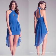 Последние высокого шеи женщин одежды Free Prom шифон женщин платье