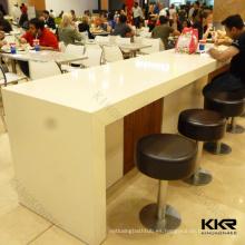 Mesa de comedor pública blanca en forma de U, mesa de comedor de superficie sólida