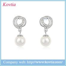 Pearl pingente de cristal brinco moda acessórios handmade sliver mulheres jóias brinco de cristal fábrica de jóias por atacado