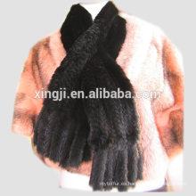 Bufanda real de piel de visón tejida a mano color negro