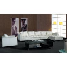 Sofá de sala de estar de couro branco durável em madeira KW357