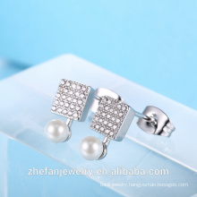 latest design stud earring pearl earring square shape cz earring