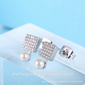 spätester Entwurfsbolzenohrring-Perlenohrring quadratische Form CZ-Ohrring