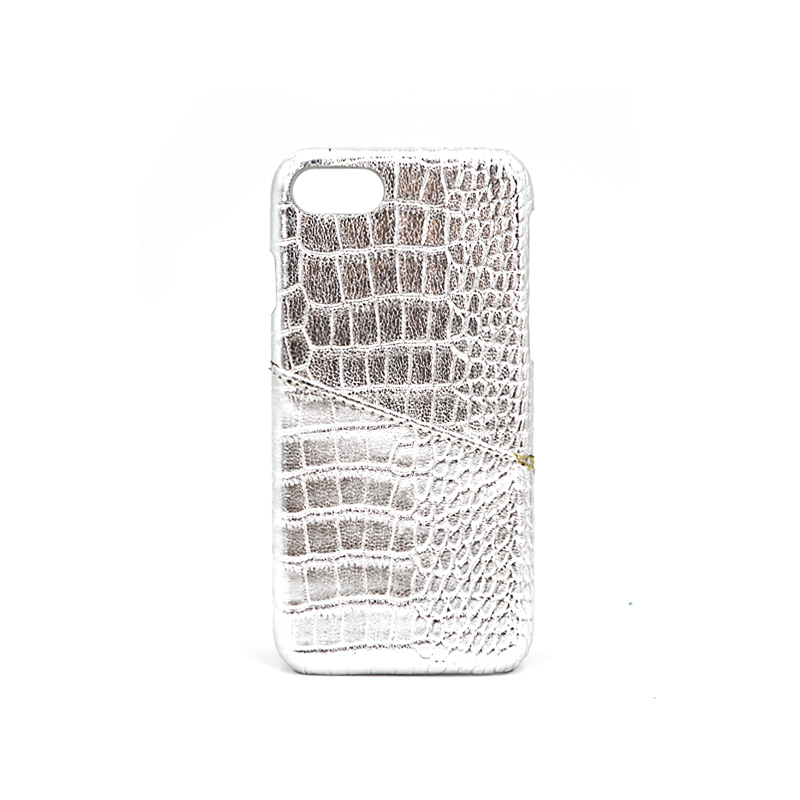 White Glitter Card Slot Crocodile Leather Phone Case