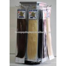 Salão de cabeleireiro profissional Pegboard comercial Mesa giratória Top Metal 4-Way 30Cm Extension de cabelo Display