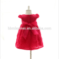 Evening Puffy Dress with Rhinestone Pearl Infant Lace Flower Knee Dress 3M 6M 12M Baby Girl Dress in Red Color for Party