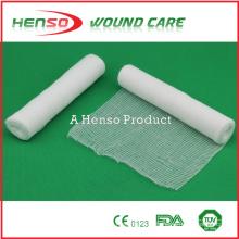 HENSO Elastisch gebleicht Baumwoll-Gaze-Bandage mit gewebter Kante