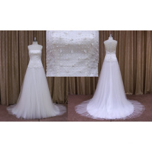 Vestido de boda de organza de cuentas una línea pesada 2016