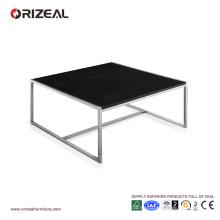 Mesa de centro de cristal negra cuadrada grande de Orizeal (OZ-OTB010)