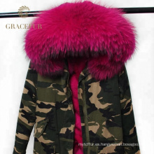 El mejor proveedor invierno mujer parka real piel ejército verde parka chaqueta de China