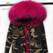 Meilleur fournisseur hiver femme parka véritable fourrure armée vert parka veste militaire de Chine