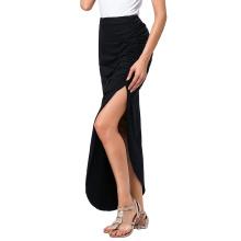 Kate Kasin Sexy Mujer Lado De Split Larga Falda Maxi Irregular Hem Negro Larga Falda De Algodón KK000315-1