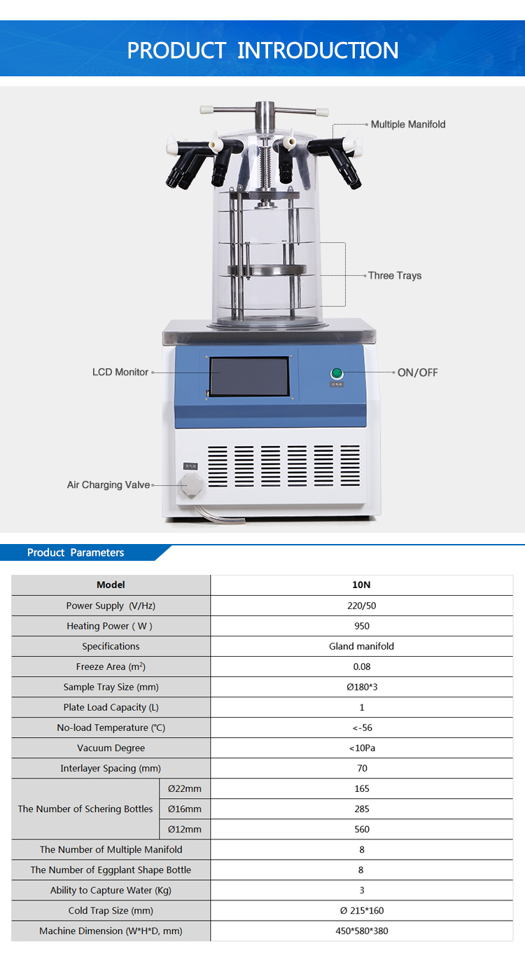 Lab Equipment Tabletop Low Temperature Freeze Dryer