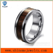 Shineme Jóias Tungstênio Carbure Natural Color Ring Inlay Wood Ring (TST2853)