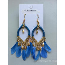 Fabric Feather Earrings with Metal Tassel