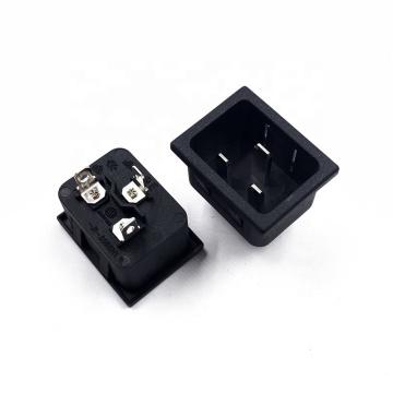 AC 250V 16A JEC IEC  C20 Male Panel Outlet Duplex Power Socket Black
