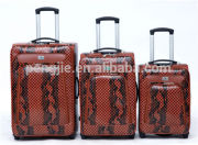 PU snake leather cheap luggage bags