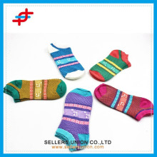 summer fashion new design bright colour stripe knitted ankle socks
