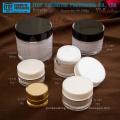 Classique chaud-vente luxe doubles couches autour de bouteille de lotion acrylique et pot de crème vide en plastique cosmétique emballage