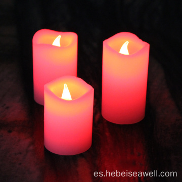 Color cambiante velas de pilar real cera LED