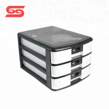 Office 3 layers plastic drawer storage box with Lock