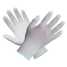 Polyester Liner Knit Wrist PU Coated Glove with Ce