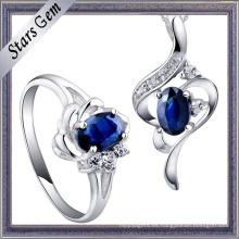 Hermosa zafiro cúbico zirconia Configuración de alta calidad de joyería de moda