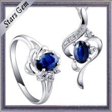 Beautiful Cubic Zirconia Sapphire Setting High Quality Fashion Jewelry Set