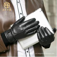 Moda 2015 estilo simples toque de tela de couro luvas de couro