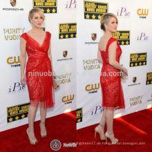 Critics Choice Awards 2014 Christina Applegate Red Carpet Celebrity Abendkleid V-Ausschnitt knielangen kurze Spitze Mantel NB0791