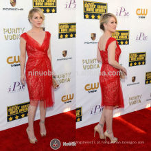 Critics Choice Awards 2014 Christina Applegate Tapete Vermelho Celebridade Vestido de noite V-Neck Knee-Length Curto Gelo bainha NB0791