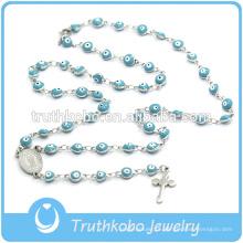 Jóias de natal católica plástico espírito eves colar de pérola azul wih jesus sideway cruz rosário colar