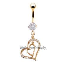 Gratuit titane anodisé anneau de nombril or coeur Zircon clair