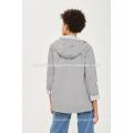 Graue gestreifte Futter Hoodes und Sweatshirts OEM / ODM Herstellung Großhandel Mode Frauen Bekleidung (TA7001H)