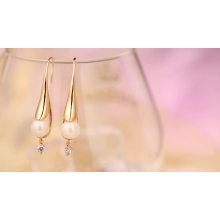 97350 Xuping fashion nouveau design bijoux en or couleur perle de rhodium boucles d'oreilles bijouterie