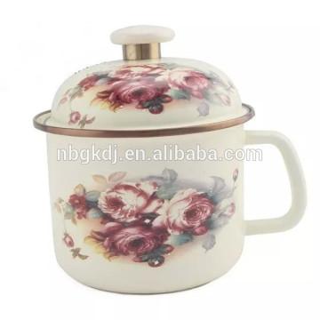 Enamel mug with enamel lids/glass lids/metal lids