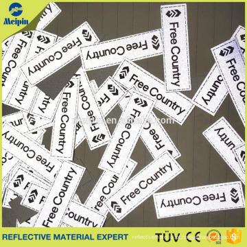 Remendo de tecido reflexivo, etiqueta de tecido reflexivo para vestuário