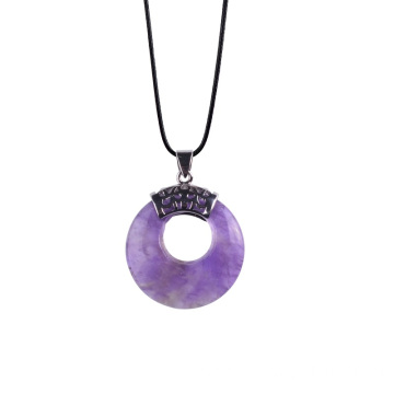 Natural Semi-precious Gemstone Amethyst Coin Pendant for Necklace Jewelry