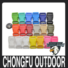 Curved plastic buckle for camping equipment