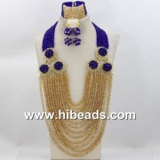 CBS6 Royal blue and gold wedding jewelry set on online store - www.hibeads.com