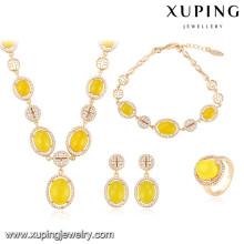 64009 Xuping moda feminina liga de cobre jóias banhado a ouro conjuntos de casamento de luxo