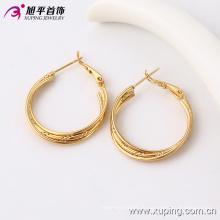 91094 Саудовская золотые украшения серьги, просто ежедневно носить золотые серьги дизайн три провода серьги обруча для женщин