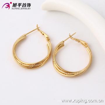 91094 saudi brinco de jóias de ouro, simples uso diário brinco de ouro projeta brincos de argola de três fios para as mulheres