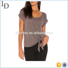 Side nudo tee en blanco personalizado su propio logotipo al por mayor suave camiseta