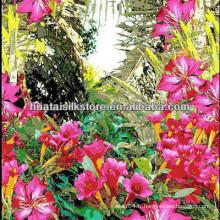 Tissu imprimé numérique en soie imprimée de jungle tropicale