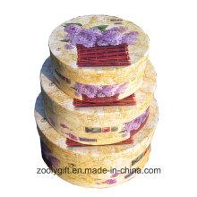 Hermoso patrón de flores caja de papel redondo rectángulo rígido cajas de regalo con tapa