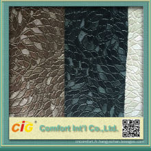 Nouveau design impression colorée et vide assorti en relief pvc paillettes en cuir pour canapé de mode