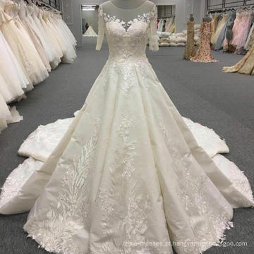 Custom made manga curta real vestido de noiva vestido de noiva WT319