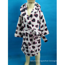 Heart Printed Hooded Polar fleece bathrobe for kids