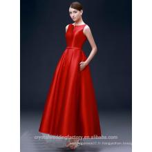 Alibaba Elegant Long Nouveau Designer Cap Sleeve Rouge Couleur A Line Robes de soirée ou Robe de demoiselle d'honneur LE37